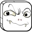 Stock Vector: Square with scary face