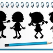 A notebook with kids at the cover page — Stock Vector #24587871