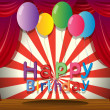A happy birthday greeting at the stage - Stock Vector