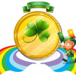 A big golden coin for St. Patrick's day — Stock Vector