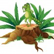 A trunk with an iguana - Stock Vector