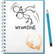 A notebook with a drawing of a wrestler — Stockvectorbeeld