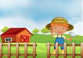 Un agriculteur détenant une houe à l'intérieur de la clôture en bois avec grange — Vecteur