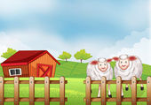 Sheeps inside the wooden fence with a barn — Stock Vector