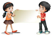 A girl and a boy holding an empty signage — Stock Vector