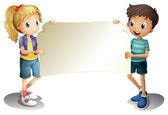 Uma menina e um menino segurando uma faixa vazia — Vetor de Stock
