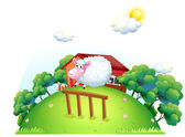 A sheep at the barnyard — Stock Vector