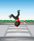 A boy breakdancing at the pedestrian lane — Stock Vector