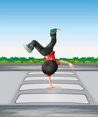 A boy breakdancing at the pedestrian lane — Stock Vector