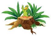 A green bird standing above a wood — Stock Vector