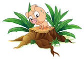 A pig exercising above a tree — Stock Vector