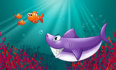 A big shark and three nemos under the sea — Stock Vector