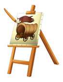 A painting of a wooden carriage — Stock Vector