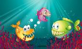 Piranhas under the sea with corals — Stock Vector