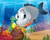 A piranha and a seahorse under the sea — Stock Vector