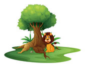 A lion sitting under the big tree — Stock Vector