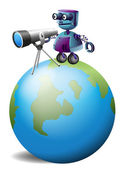 A robot with a telescope above the planet earth — Stock Vector