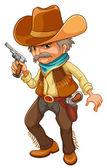 A cowboy holding a gun — Stock Vector