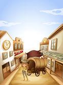 A girl standing near the saloon — Stock Vector