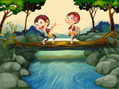 Two monkeys dancing while crossing the river — Stock Vector