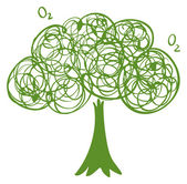 A drawing of a green tree — Stock Vector