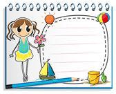 Um notebook com um desenho de uma jovem garota segurando uma flor — Vetor de Stock