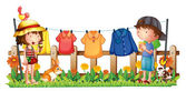 A girl and a boy in the garden with the hanging clothes — Stock Vector