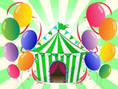 A green circus tent at the center of the colorful balloons — Stock Vector