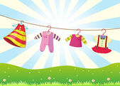 Hanging baby clothes in the hill — Stock Vector