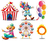 A circus tent, clowns, ferris wheel, balloons and a ring of fire — Vetor de Stock