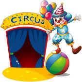 A clown with balloons balancing above a ball — Stock Vector