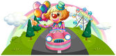 A pink car with a female clown — Stock Vector