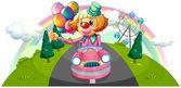 Un coche rosa con un payaso femenino — Vector de stock