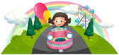 A young girl riding in a pink car with balloons — Stock Vector