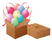 Balloons with boxes — Stock Vector