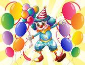 A clown holding balloons — Stock Vector