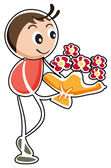 A boy holding a bouquet of flowers — Stock Vector