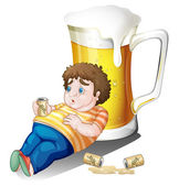A fat boy with cans of beer near a big glass — Stock Vector