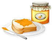 A sliced bread with an orange jam — Stock Vector