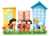 Kids playing outside the building — Stock Vector
