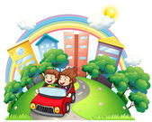 A girl and a boy riding at the car along the road — Stock Vector