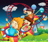 Three kids riding in a roller coaster — Stock Vector