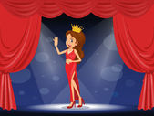 A lady with a crown at the stage — Stock Vector