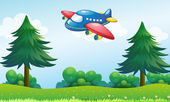 A toy plane flying above the hill — Stock Vector