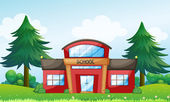 A red school building — Stock Vector