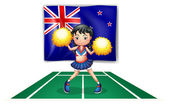 A cute cheerdancer in front of the New Zealand flag — Stock Vector