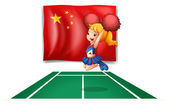 The flag of China and the young cheerdancer — Stock Vector