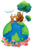 A small and a big orangutan sitting above the planet earth — Stock Vector