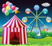 A red circus tent with balloons — Stock Vector