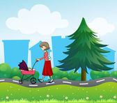 A girl with a baby stroller along the road — Stock Vector
